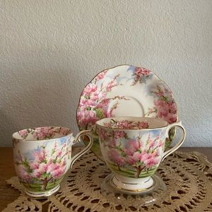 "Royal Albert ""Blossom Time"" teacup, saucer trio"
